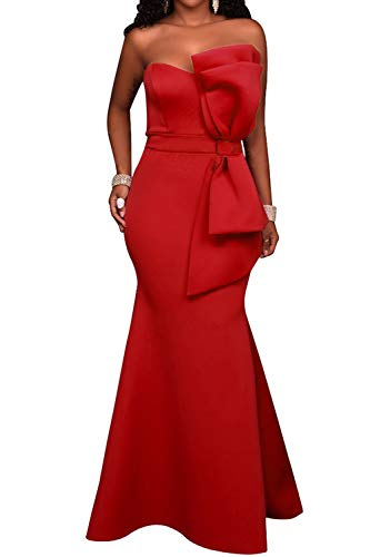 SEBOWEL Women's Sexy Off Shoulder Strapless Bow Applique Wedding Guest Gowns Party Maxi Dress Red M