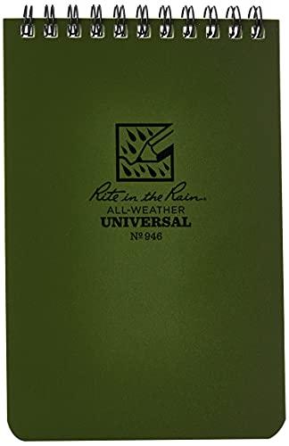 Rite in the Rain - Carnet Etanche Vert Olive 10 x 15 cm - Vert Olive - Papier Etanche - 10 x 15 cm - 100
