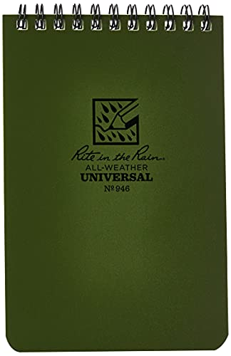 """Rite In The Rain 946 Weatherproof Top Spiral Notebook, 4"""" x 6"""", Green Cover, Universal Pattern, 1 Pack"""