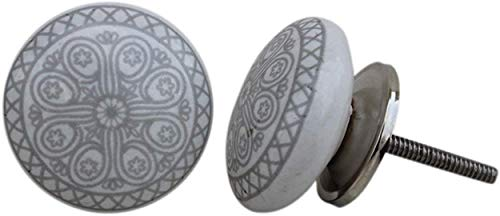 Set of 12 Pieces Ceramic & Metal Grey Wheel Drawer Pulls and Knobs Handmade Designer Silver Finish by Indian Shelf