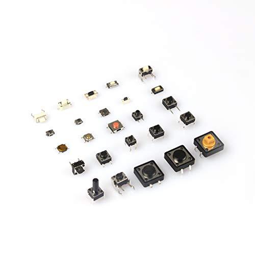 HOTPINK1 125Pcs 25 tipos de interruptores, diferentes botones de micropulsación, interruptor Tact Switch Reset Mini Leaf