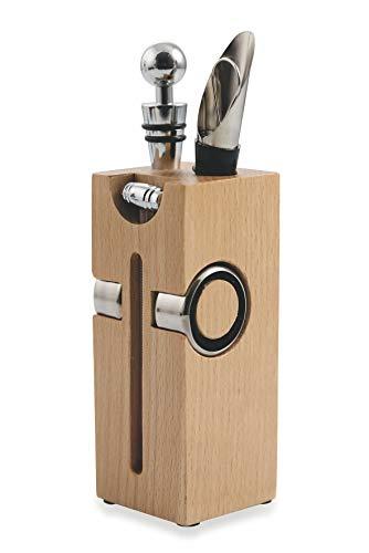 Casaviva Juego completo de accesorios para vino Pro, diseño moderno y elegante, de madera de roble y acero inoxidable, excelente idea de regalo para hombre o amantes del vino