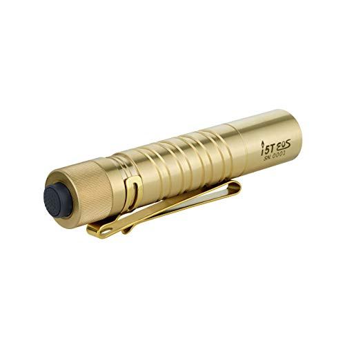 Olight i5T EOS Brass 300 Lumen LED Flashlight, Every Day Carry with AA Alkaline Battery, Anti-slip Tail Switch with Momentary on and 15/300 Lumens Modes Change (Brass, Limited Edition)