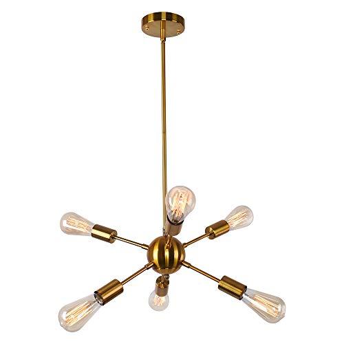 OYIPRO Sputnik Kronleuchter Pendelleuchte 6-Flammig Hängelampe Einstellbare Höhe 4x25cm E27 Lampenfassung Metall für Esszimmer Wohnzimmer Schlafzimmer Küche Restaurant