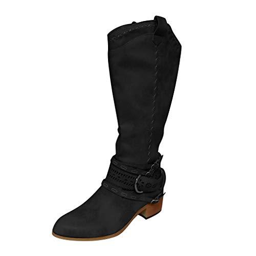 DOLDOA Damen Stiefel Vintage Frauen Wohnungen Square Head Low-Heel Western Rodeo Zipper Bequeme Stiefel Schwarz, Khaki