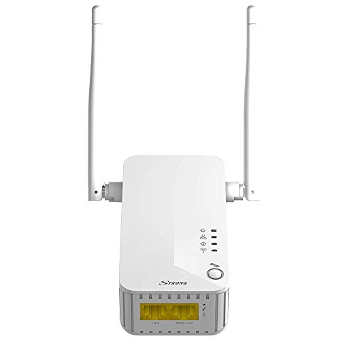 Strong PowerL-Adapter WLAN 500, kompatibel mit Glasfaser- und ADSL-Box, Bandbreite bis zu 300 Mbit in WAN und 500 Mbit/s in LAN, 2 Ethernet-Ports, Access Points, Hot Spot WLAN, weiß