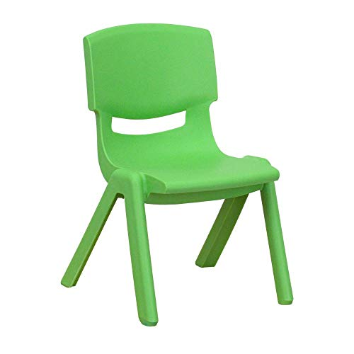 Flash Furniture Green Plastic Stackable School Chair with 10.5