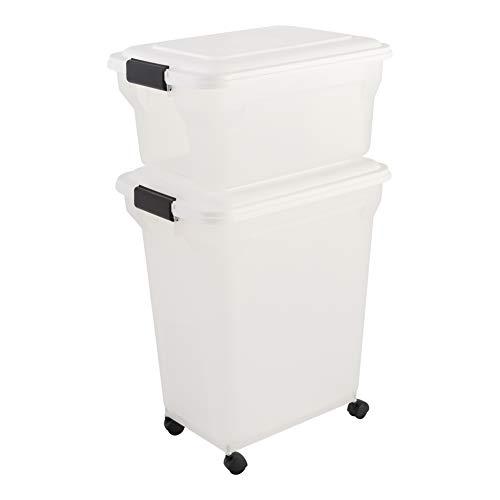 Iris Ohyama, set 2 contenitori di crocchette sigillati - Air Tight Food Container - ATS-C, plastica, trasparente / bianco, 45 + 20 L, 46 x 34 x 73, 5