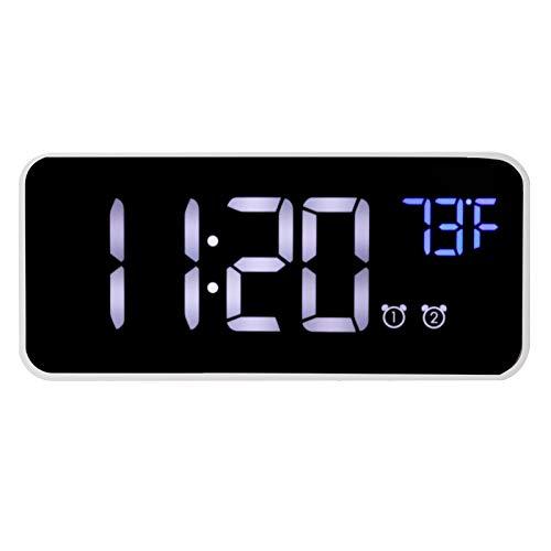 Uxsiya Espejo Reloj Reloj de escritorio Pantalla Digital Grande Componentes Electrónicos Brillo Atenuación ABS para el hogar sala de estar, dormitorio, oficina Batería de litio incorporada (blanco)