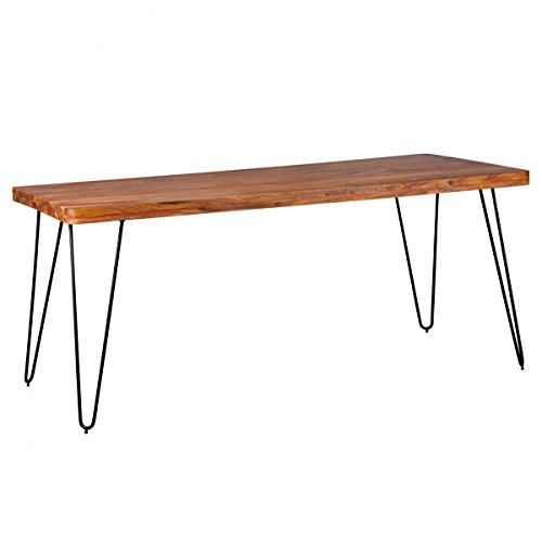 Home Collection24 BAGLI Table à Manger en Bois Massif de sheesham avec Pieds en métal et Pieds en métal Marron foncé 180 cm