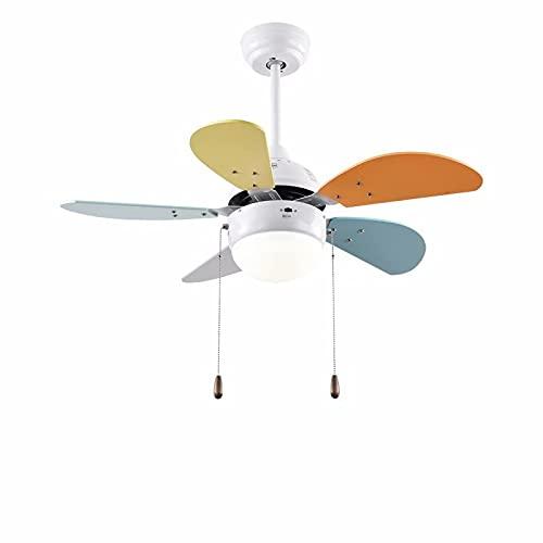 Lámpara de ventilador de techo de dibujos animados para habitación de niños, ventilador de techo de 30 pulgadas, luz con 5 cuchillas, luces LED, 24 W, regulable silencioso