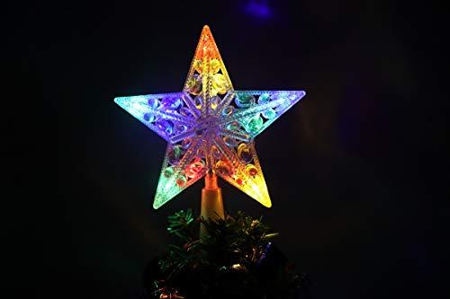 Cewuidy Weihnachtsbaumspitze, 15,2 cm, 10 LEDs, batteriebetrieben, 3 AA-Batterien, tolles Zubehör für Weihnachtsbaumdekoration (Innen)