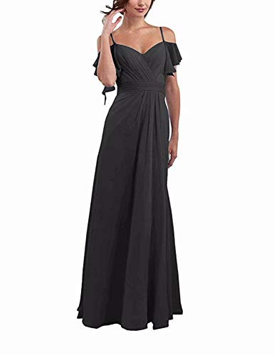 Willings Women's A Line Ruffled Chiffon Cold Shoulder Long Bridesmaid Party Dress