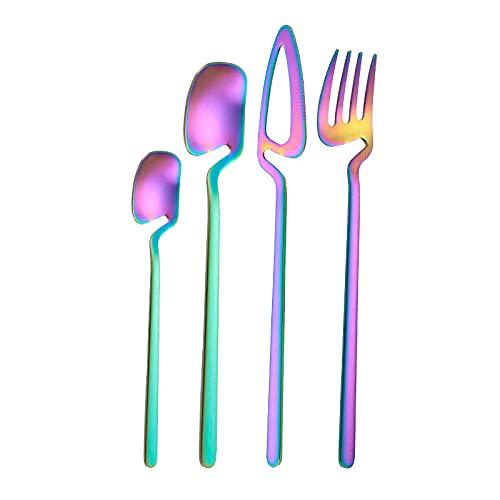 OUDEING Cuberteria Moderna Juego de vajillas 24 Piezas de Oro Rosa - Incluyendo Comidas/Comidas, cucharas/cucharaditas, Pulido de Espejo-Rainbow 24pcs