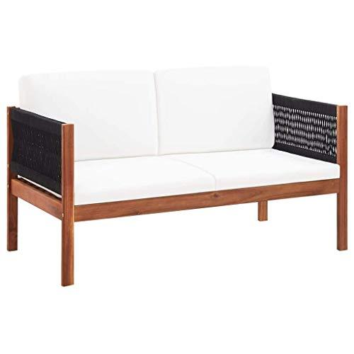 vidaXL Akazienholz Massiv Gartensofa 2-Sitzer mit unverwechselbarem Seildesign Auflagen Gartenmöbel Sofa Loungesofa Gartenbank Holzbank