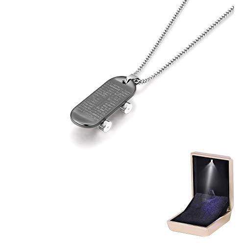 AMTBBK Anhänger Halskette, Lange Halskette Skateboard Anhänger Pullover Kette Paar Titan Stahl Halskette Modeschmuck Mit LED-Halskette,B