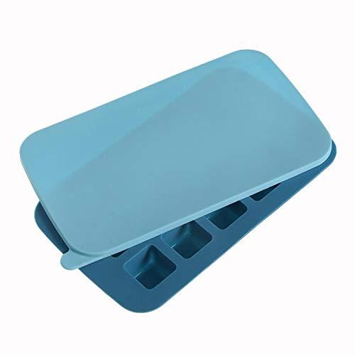 siqiwl Bandeja Cubitos de Hielo Silicona con Tapa Caramelo pudín Chocolate moldes Forma Cuadrada Blue-Square