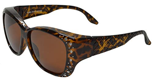 PZ - Polarized Women Sunglasses Wear to Cover Over Prescription Glasses UV Protection and HD Vision (Tortoise + Polarized Brown)