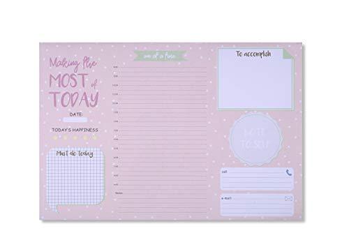 Tri-Coastal Design - Planner Giornaliero Perpetuo da Scrivania - Agenda da Tavolo per Ufficio senza Data - Block Notes per Appunti (Pois Rosa)