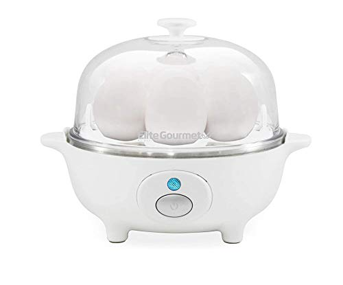 Elite Gourmet EGC-007 Easy Electric Poacher, Omelet Eggs & Soft, Medium, Hard-Boiled Egg Boiler Cooker with Auto Shut-Off and Buzzer, Measuring Cup Included, BPA Free, 7, White (.1 Count - White)