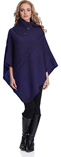 Merry Style Poncho Mujer 2V3T1(Azul Oscuro, One Size)