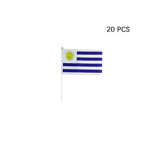 pretty_jessie Uruguay Flag Uruguayan Hand Held Small Mini Stick Flags Decorations International Country World Flags for Party Olympics Festival Parades Parties Decor (20 Pack) (Uruguay)