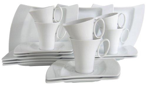 CreaTable 13455, Serie Wing weiß, Geschirrset Kaffeeservice 18 teilig