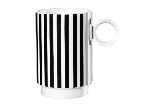 ASA – Memphis – Gobelet – Lot de 2 – Rayures vertical – Noir/Blanc – Céramique – 0,25 l