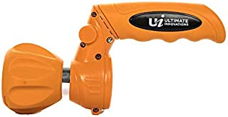 (2-in-One Flip Nozzle) Ultimate Fireman's 5-Pattern Hose Nozzle - from Powerful Jet for Heavy Duty Cleaning to Soft and Gentle for Watering Flowers (Orange)