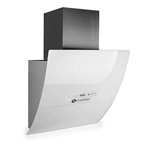 Klarstein RGL60WH - Dunstabzugshaube, Abluft/Umluft, 3 Stufen, max. Abluftleistung: 600 m³/h, Glas-Front, LED, Display, Timer, Wandanbau, Breite: 60 cm, Aluminium-Fettfilter, kopffrei, weiß