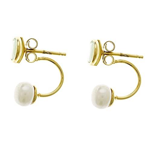 Córdoba Jewels | Pendientes en Plata de ley 925 con diseño Perla Jade Gold