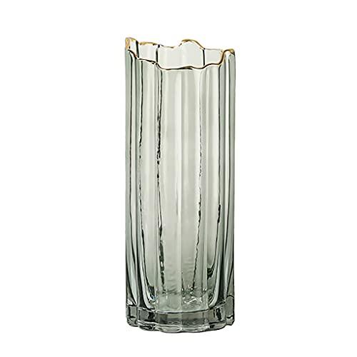 Jarrone Vidrio Transparente,Elegante Florero de Arreglo Floral, Irregular Simple,Adecuado para Sala de Estar,Comedor,Hotel (Color : Green, Size : L)