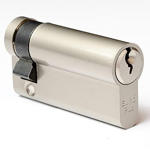 FELGNER Halb-Zylinder Euro Plus Schließzylinder Profilzylinder Türschloss Sicherheitsschloss für Türen Garagentore etc. | Messing - inkl. 3 Bart-Schlüssel | 50mm