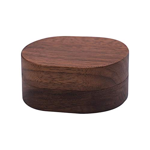Fengshengli Caja de anillo de compromiso de nogal negro, caja de anillos dobles de madera para propuesta de boda ceremonia caja portador