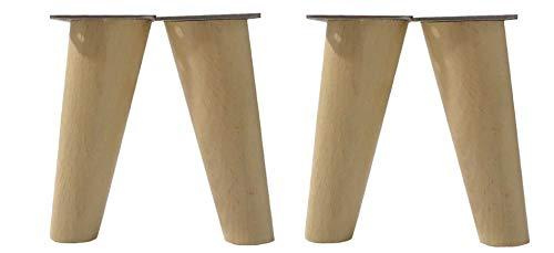 patas para muebles madera haya. Patas cónicas con inclinación, y placa de montaje ya instaladas. Color natural (12 cm natural)
