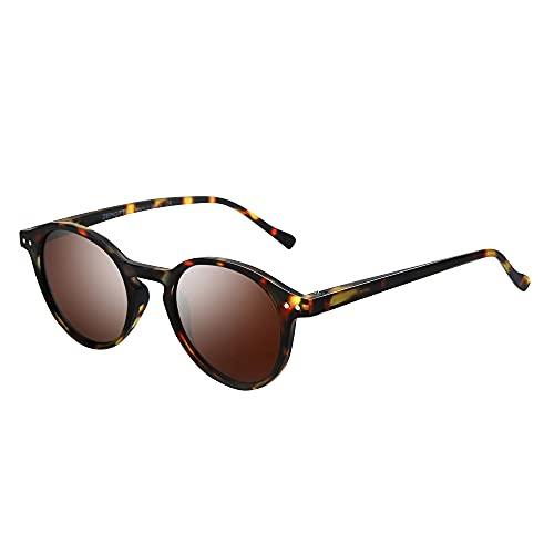 ZENOTTIC Gafas de sol Polarizadas Redondo Retrospectivo Clásico Retrospectivo Lentes de sol Marco UV400 Para hombres y mujeres (TORTUGA MATTE + MARRÓN)