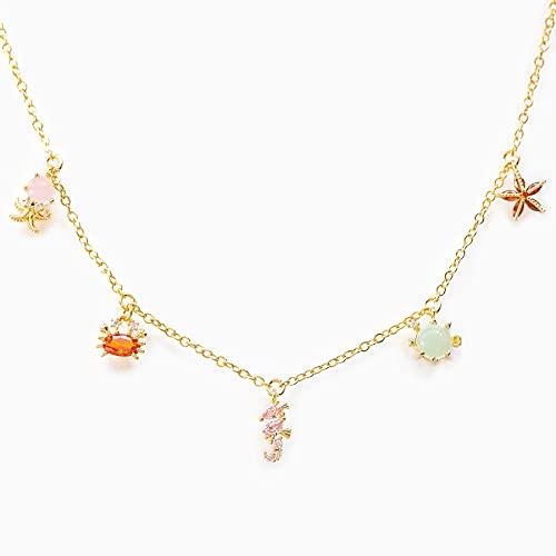 JOMYO Kleurrijke parelketting, beaded necklace, Beach Breeze Collection Clutch Chain, ketting met gekleurde zirkonia…