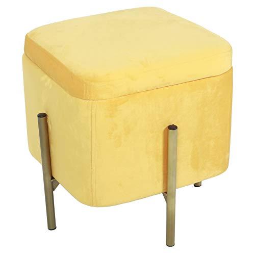 Haofy Taburete de Almacenamiento para pies, Taburete de Almacenamiento Cuadrado Multifuncional Taburete para reposapiés Caja de Almacenamiento con Tapa extraíble (Amarillo)