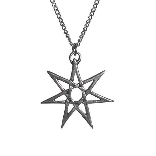Sigils of the Craft - Collar con Colgante de Estrella de heptagrama bañado en Plata con Siete Puntas