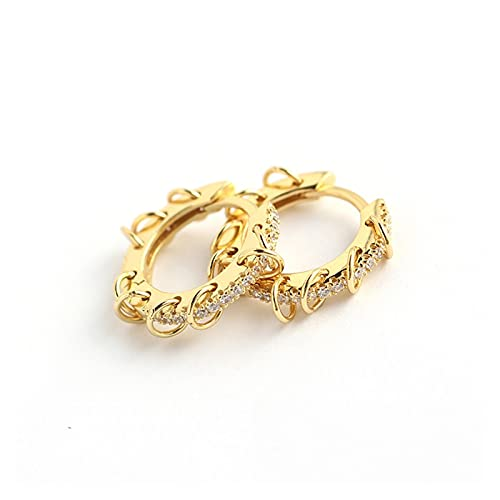 925 Pendientes de aro de círculo de plata esterlina para mujeres para hombres Punk de moda Accesorios de fiesta de moda Regalo de joyería de moda por YESYI SHMGO (Gem Color : Gold Color)