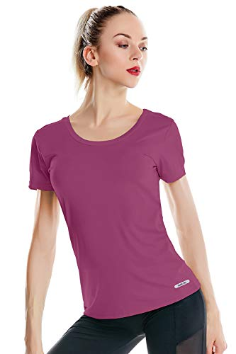 Dri Fit - Camiseta deportiva de manga corta para mujer Púrpura Ciruela M