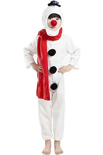 Kinderen Snowman Kostuum Kids Kerstmis Wit Lange Mouw Katoen Snowman Jumpsuit Kostuum Kleding met Witte Hoed, Rode Sjaal en Rode Roos