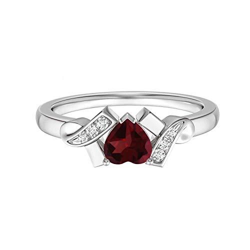 Shine Jewel 0.50 Ctw 925 Anillo de Amor apilable con Forma de corazón de Granate con Piedras Preciosas Solitario (21)