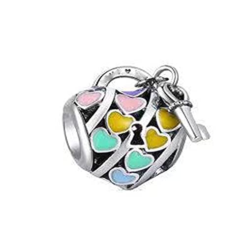 Pandora Fashion 925 Charm Silver Color Ribbon Heart Lock Key Diy Bead Se Adapta A Pulseras Europeas Accesorios De Joyería