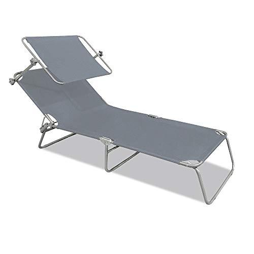 Aufun Sonnenliege Klappbar mit Dach Gartenliege Liegestuhl Relaxliege Sonnendach und Rückenlehne Verstellbar 188 x 56 x 27 cm, Freizeitliege Strandliege Camping Liege (Grau mit Dach)