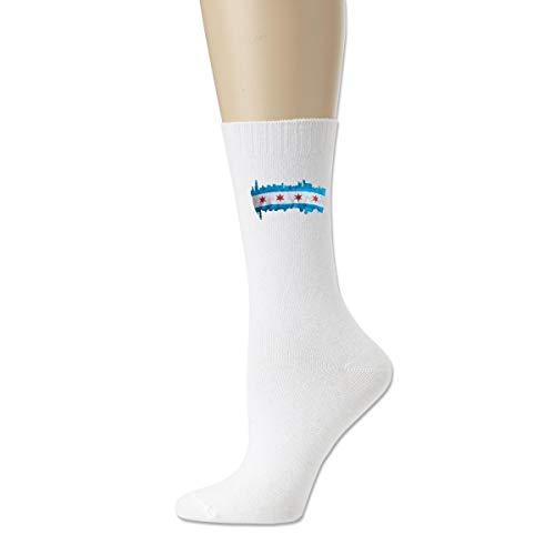 Calcetines atléticos de la novedad, calcetines respirables de la compresión del horizonte de la bandera de Chicago City