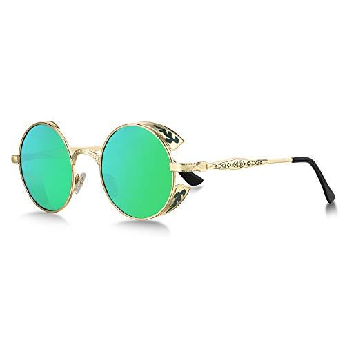 WHCREAT Retro Runde Steampunk Polarisierte Sonnenbrille mit geprägtem Muster Brille für Herren Damen, goldener Rahmen verspiegelte grüne Linse