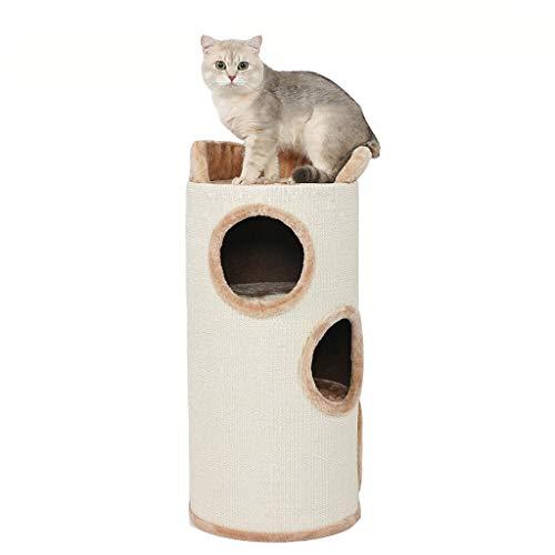 Barril rascador de gato Con plataforma superior Torre de gato grande Centro de actividades Condo Gatito Cama Scratcher Escalador Escalador Play House w / 3 agujeros y juguete colgante,Beige-35*78cm