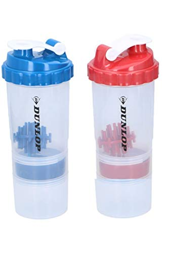 SET OF 2 PROTEIN SHAKER WITH POWDER STORAGE COMPARTMENT 350ML SPORTS –GYM BOTTLE