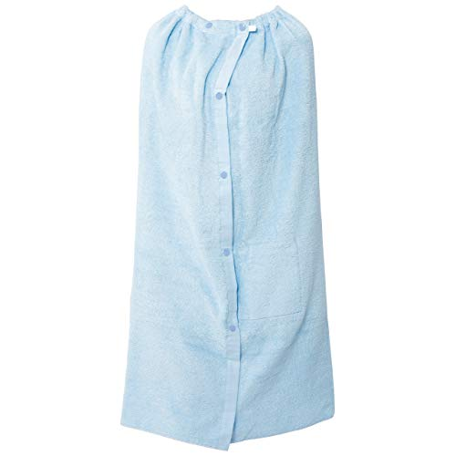[アイセック] 巻きタオル ポケット付 100×120cm 無地 キッズ ラップタオル(100cm丈・120cm幅) (サックス)
